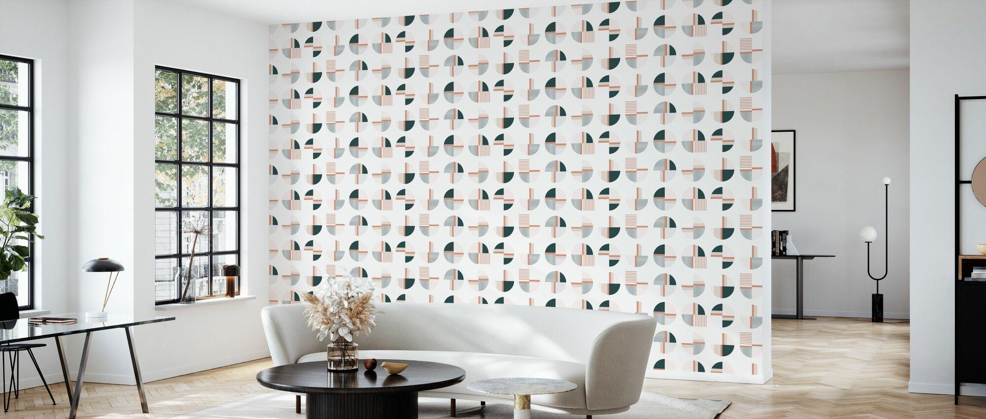 Tribe - Peach - Wallpaper - Living Room