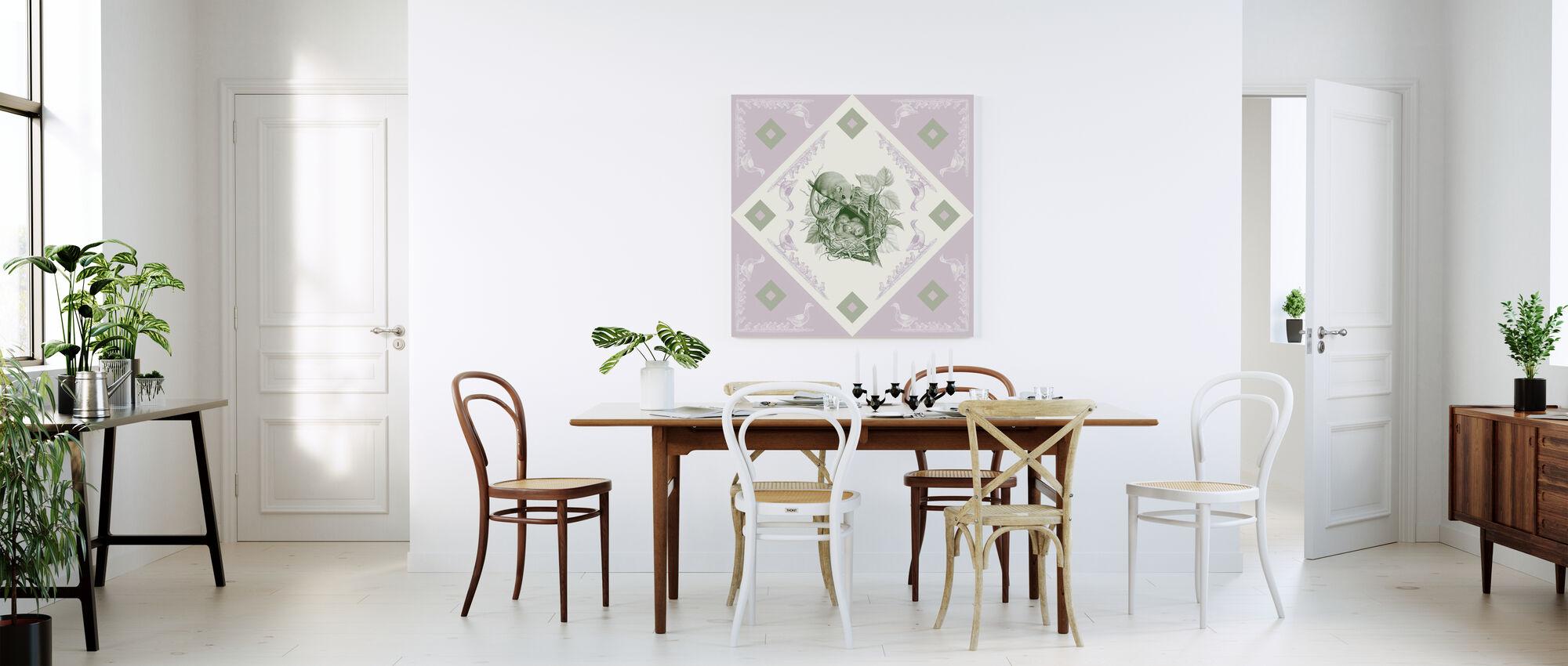 Dormouse, Green Pink - Canvas print - Kitchen