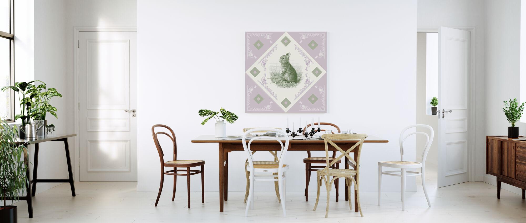 Rabbit, Green Purple - Canvas print - Kitchen