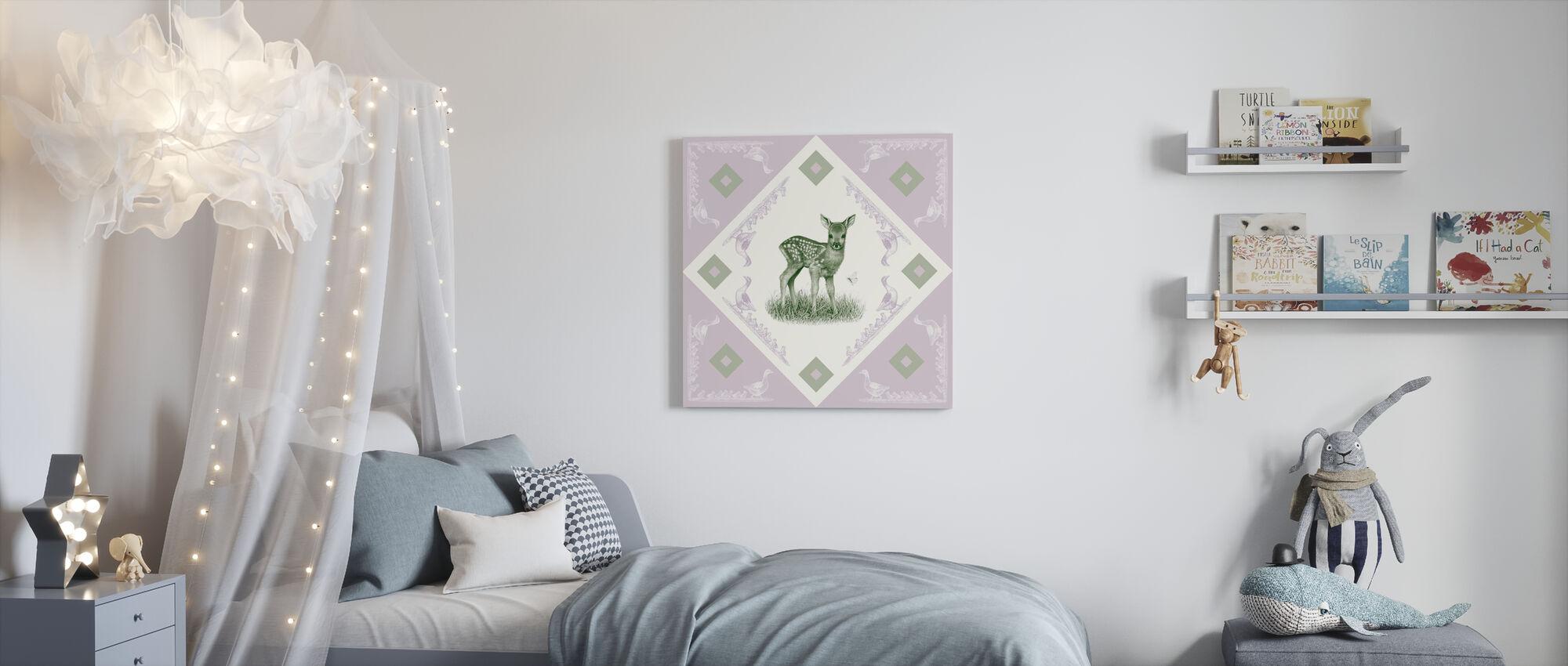 Deer, Green Purple - Canvas print - Kids Room