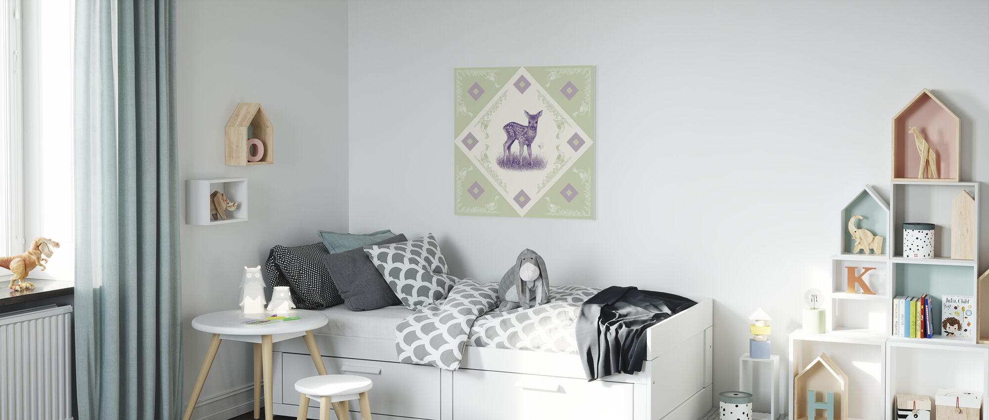 Deer, Purple Green - Canvas print - Kids Room