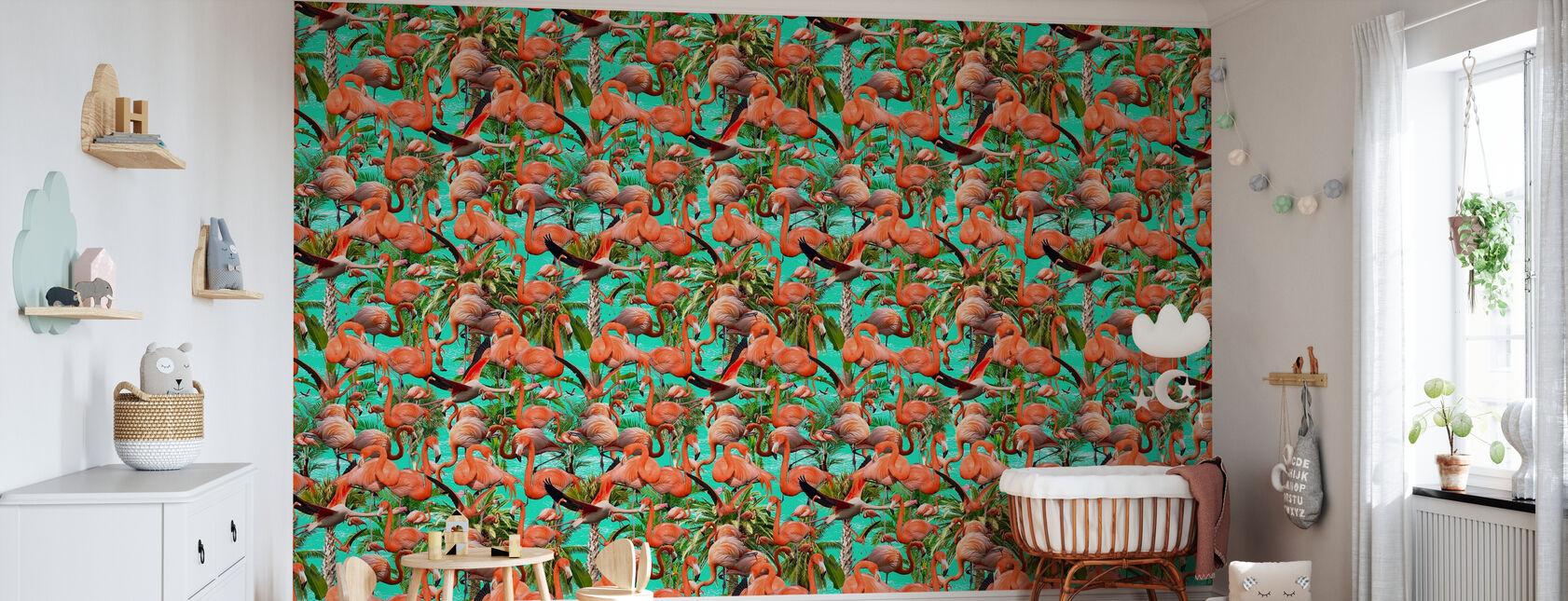 Flamingos Miami - Wallpaper - Nursery