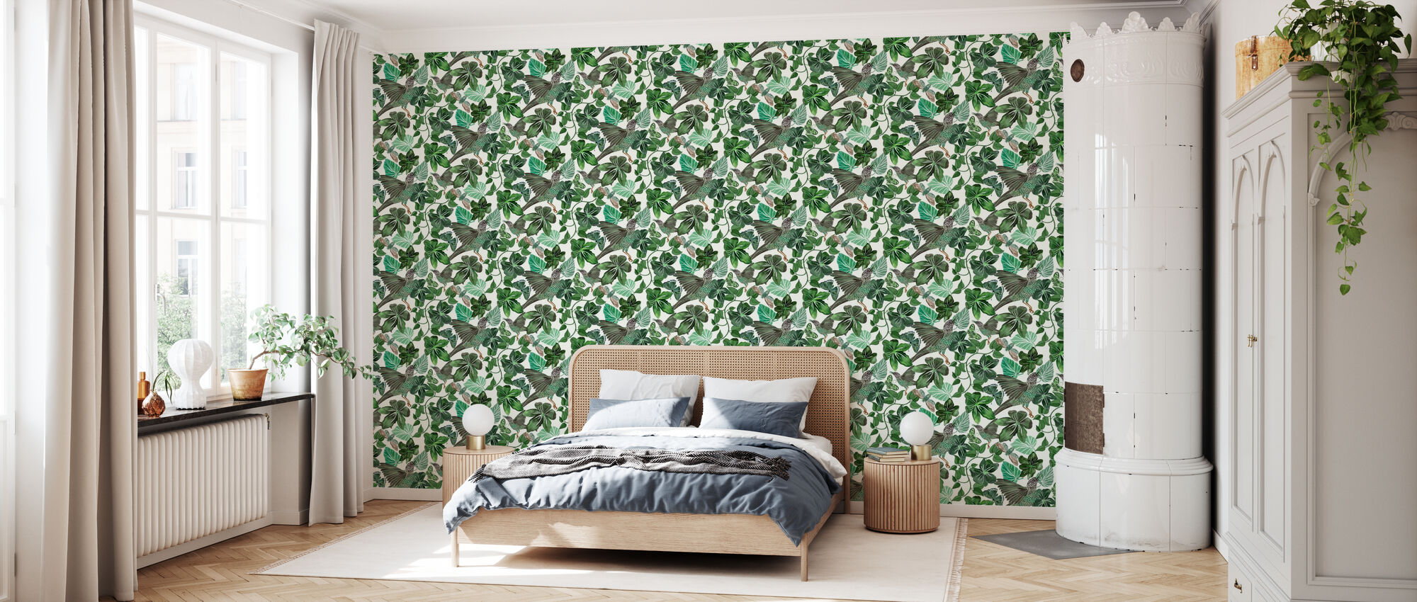 Blues - Green - Wallpaper - Bedroom