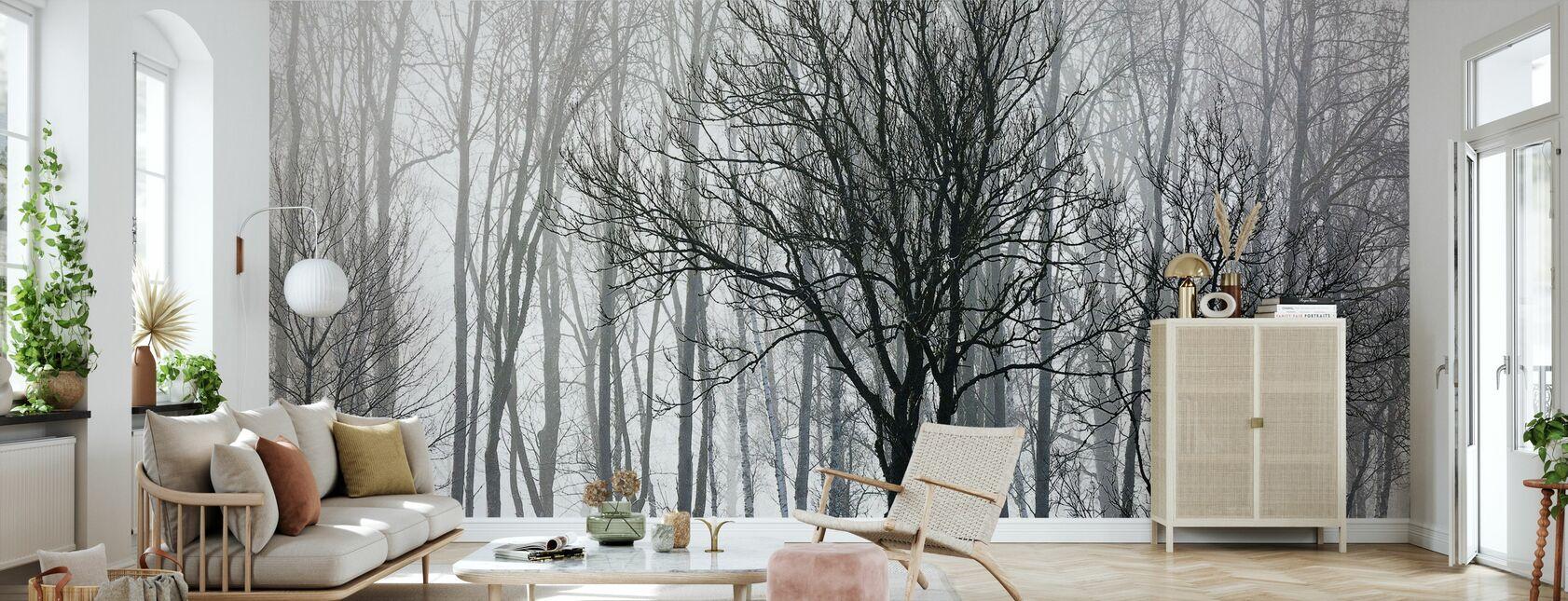 Arbres abstraits, noir et blanc - Papier peint - Salle à manger
