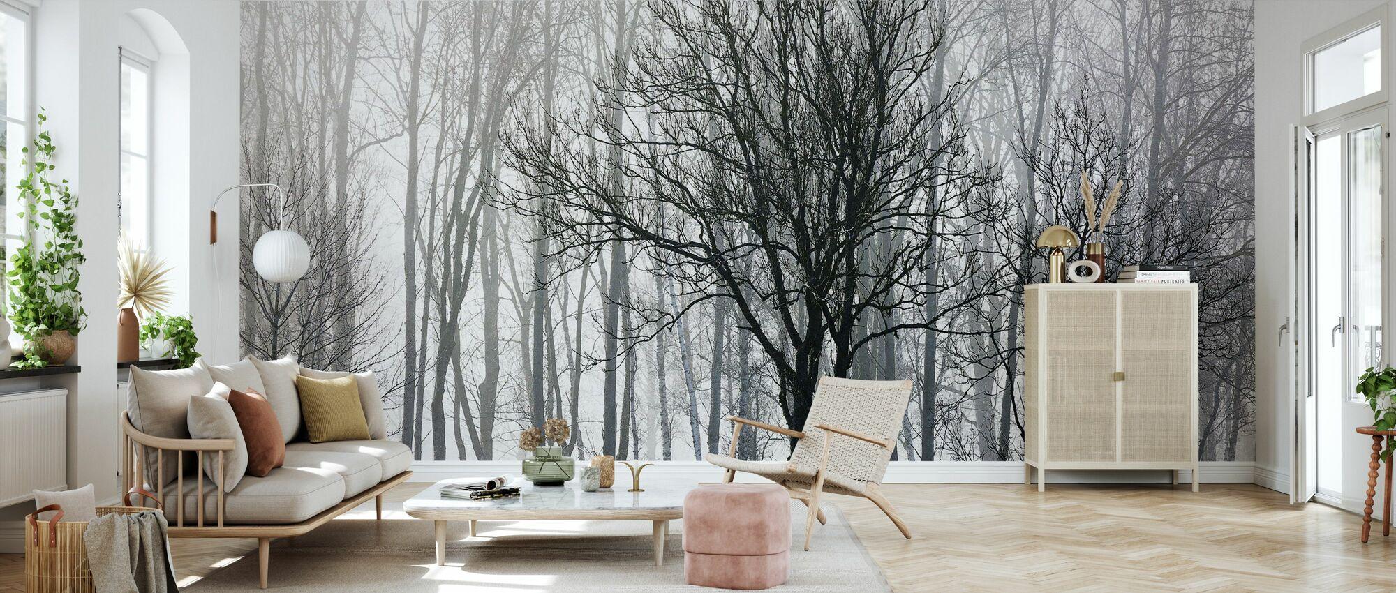 Abstrakte Træer, sort og hvid - Tapet - Stue