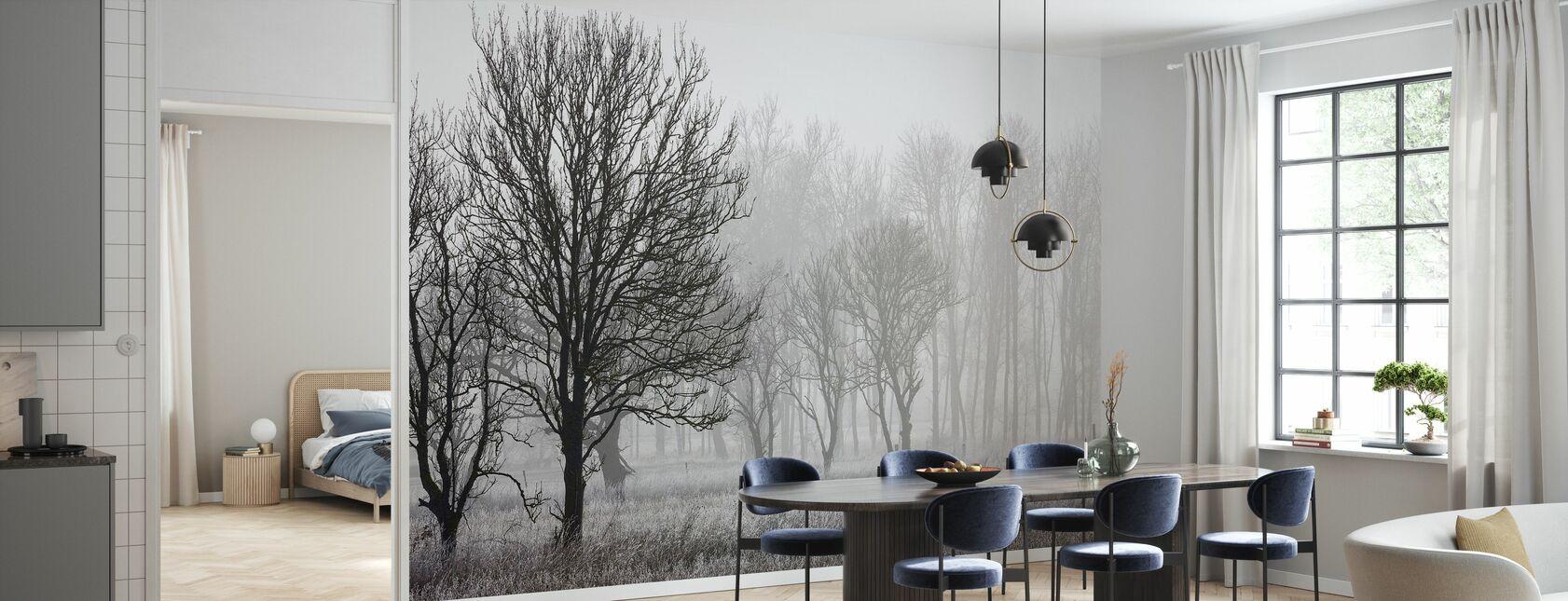 Frost i skoven, sort og hvid - Tapet - Køkken