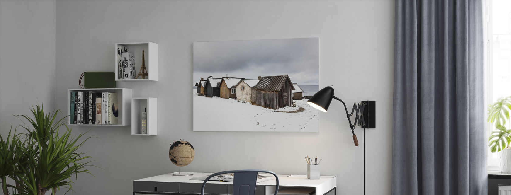 Helgumannens Fishing Village - Billede på lærred - Kontor