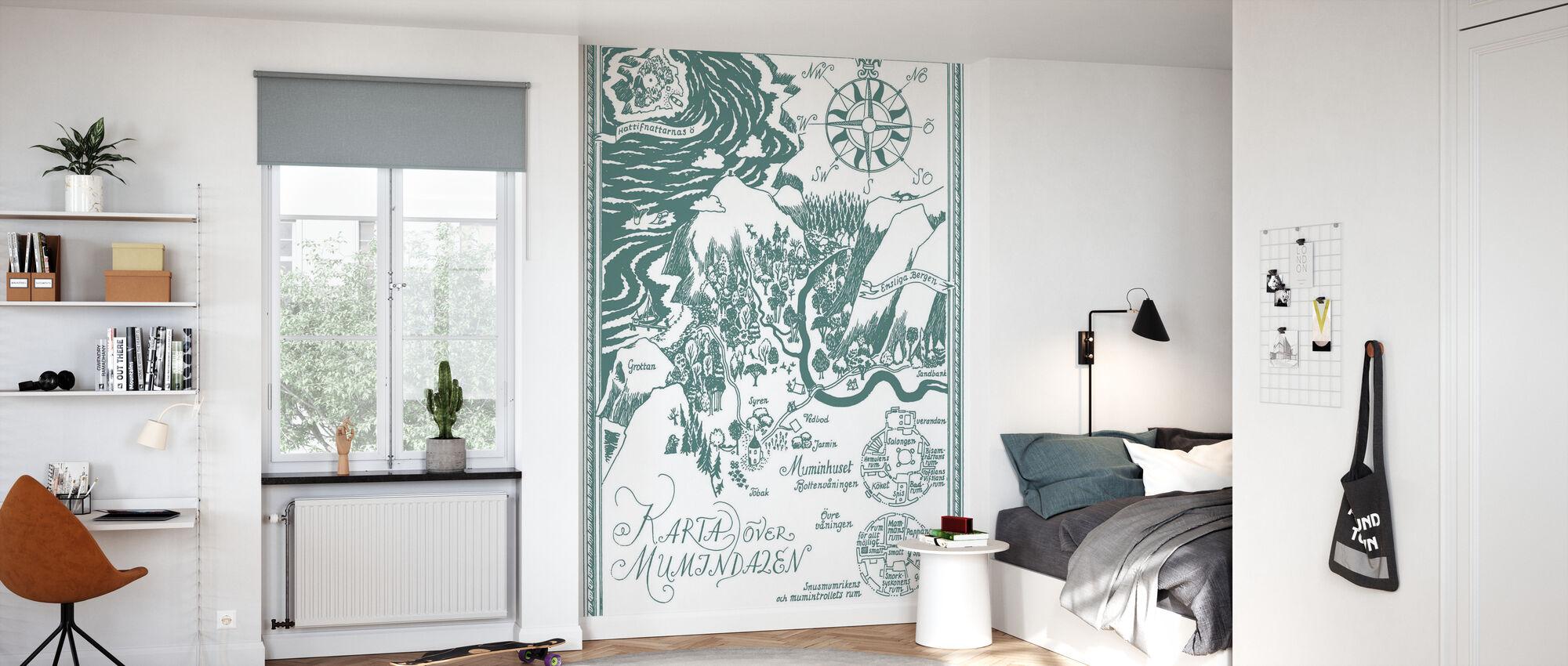 Moomin - Map over Moomin valley – Green - Wallpaper - Kids Room