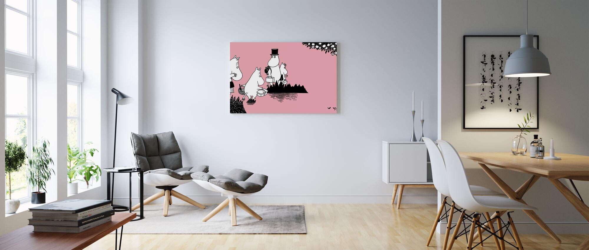 Moomin - Moomin familie op avontuur — Roze - Canvas print - Woonkamer