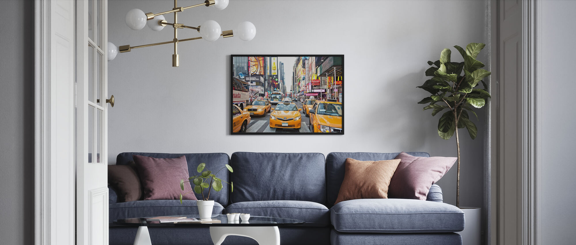 Cabs and Capitalism, New York - Poster - Living Room