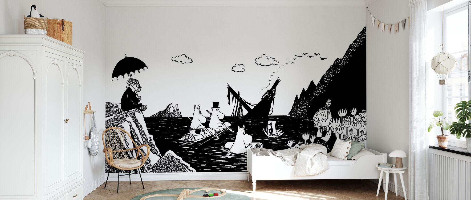 Moomin - Snorkmaagd in een boot - Behang - Kinderkamer