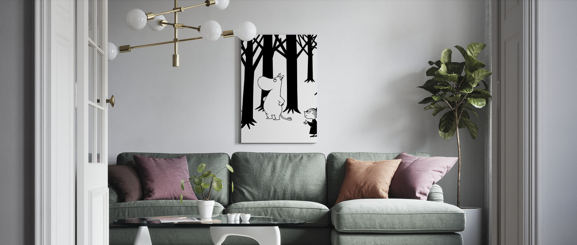 Moomin and Little My in a Forest - Canvas print - Living Room