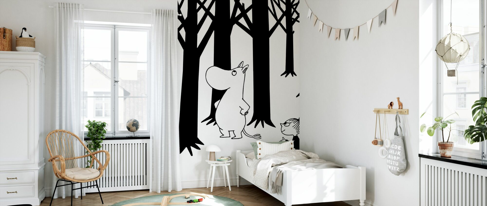 Moomin and Little My in a Forest - Wallpaper - Kids Room