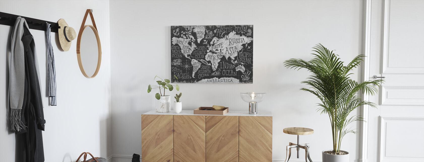 Mityczna mapa I, czarno-biała - Obraz na płótnie - Przedpokój