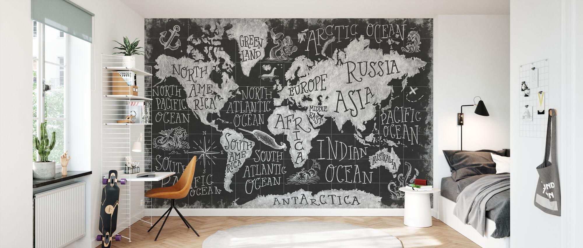 Mythical Map I, black and white - Wallpaper - Kids Room
