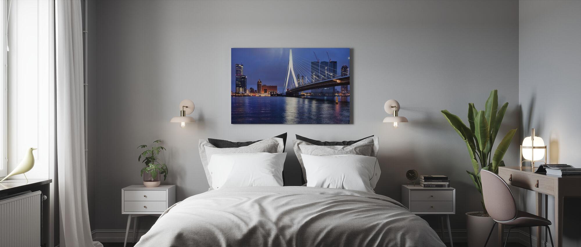Stadt Rotterdam bei Nacht - Leinwandbild - Schlafzimmer