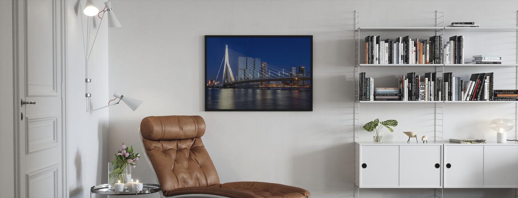 Erasmus Bridge and River Meuse in Rotterdam - Framed print - Living Room