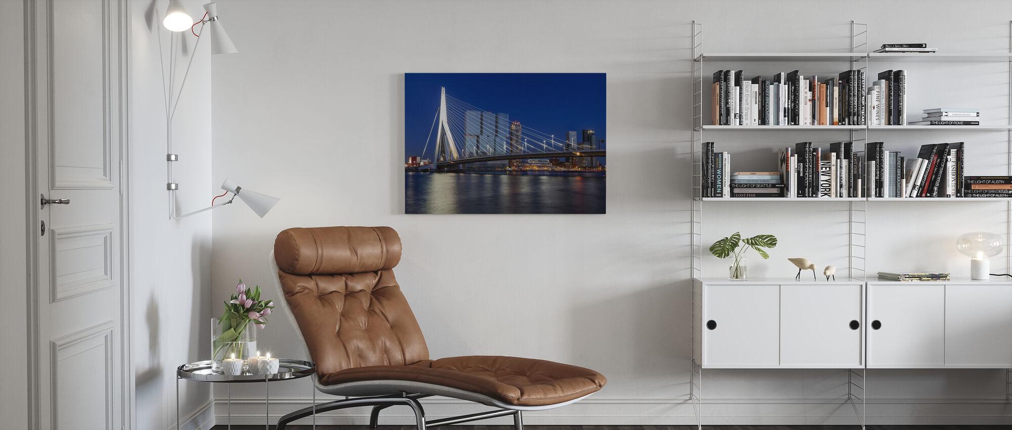 Erasmusbrücke und Maas in Rotterdam - Leinwandbild - Wohnzimmer