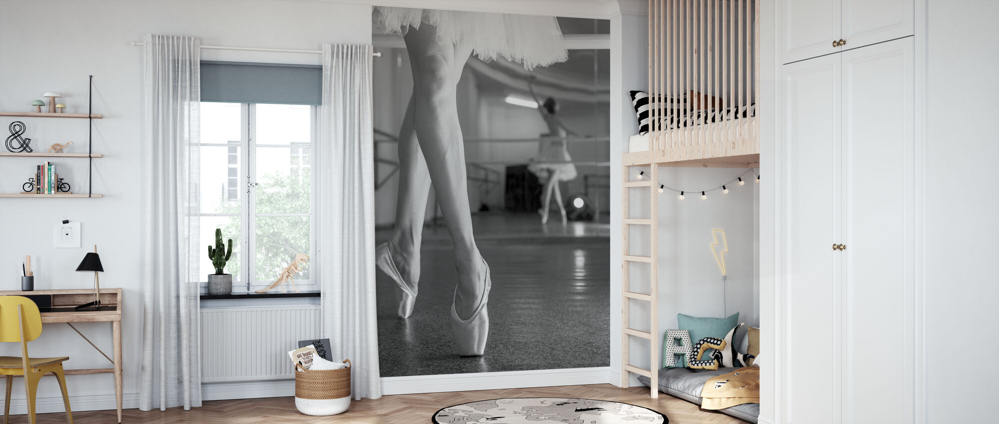 Prima Ballerina, zwart-wit - Behang - Kinderkamer