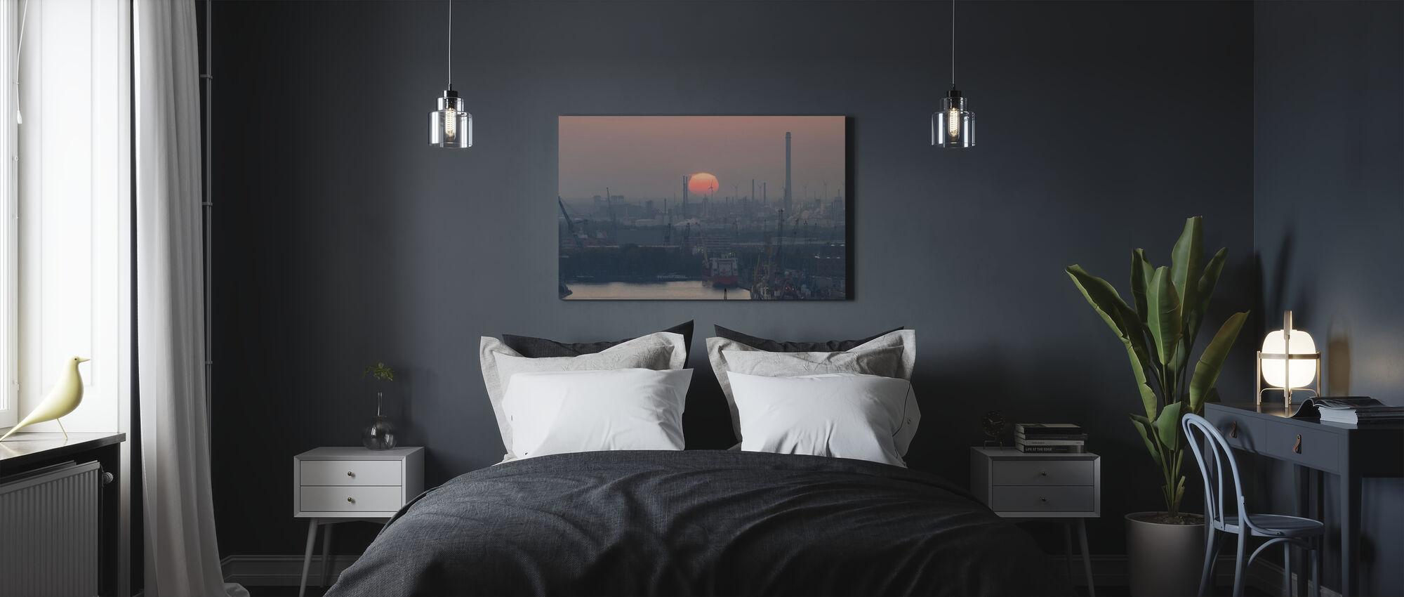 Rotterdam Hafen bei Sonnenuntergang - Leinwandbild - Schlafzimmer