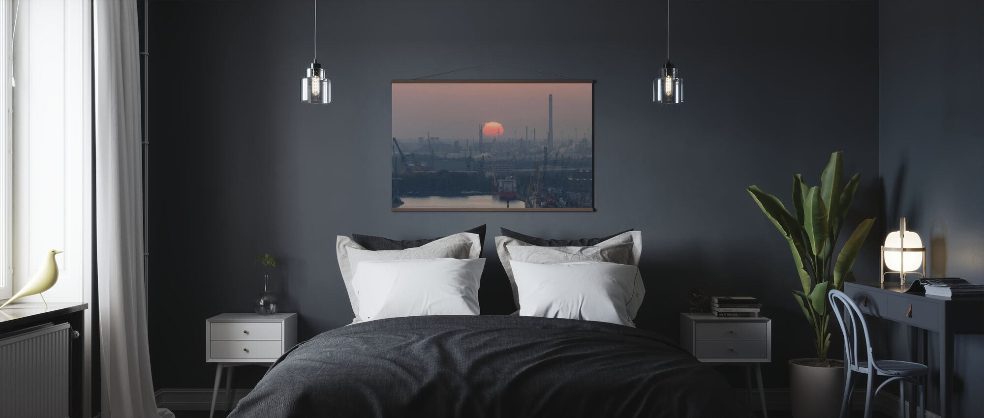 Rotterdam Port at Sunset - Poster - Bedroom