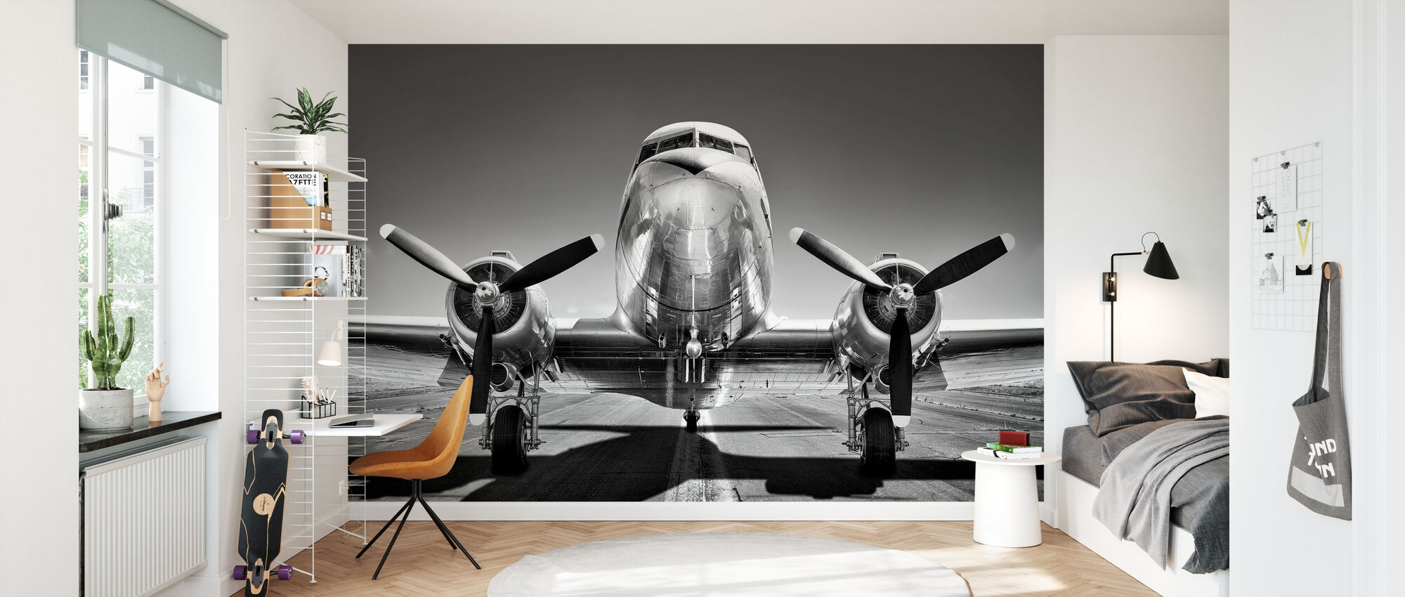 Vintage Airplane on a Runway, black and white - Wallpaper - Kids Room