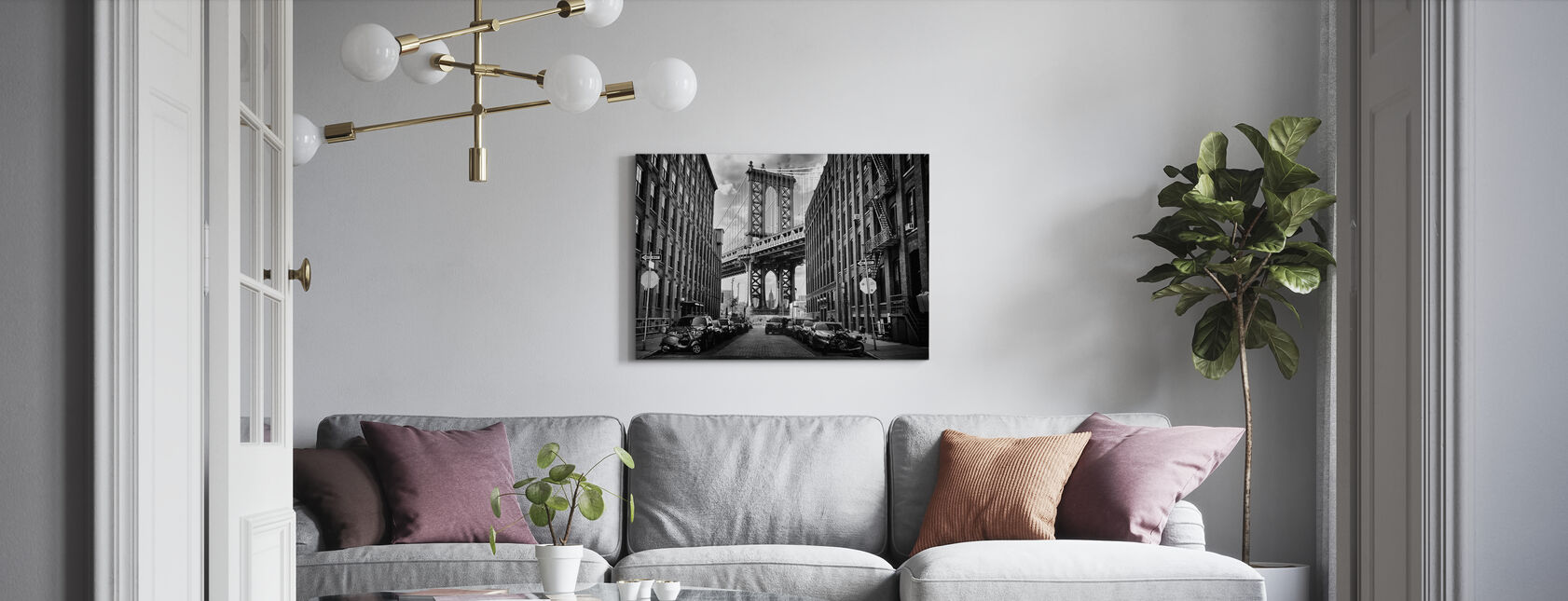 In America, black and white - Canvas print - Living Room