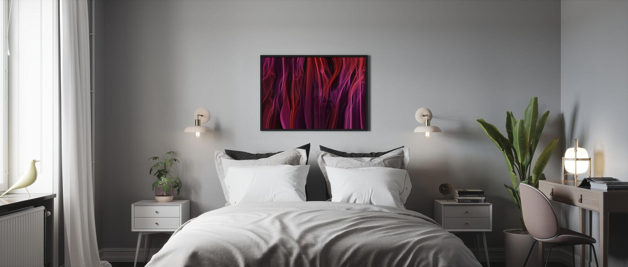 Haihtuvat verhot - Kehystetty kuva - Makuuhuone