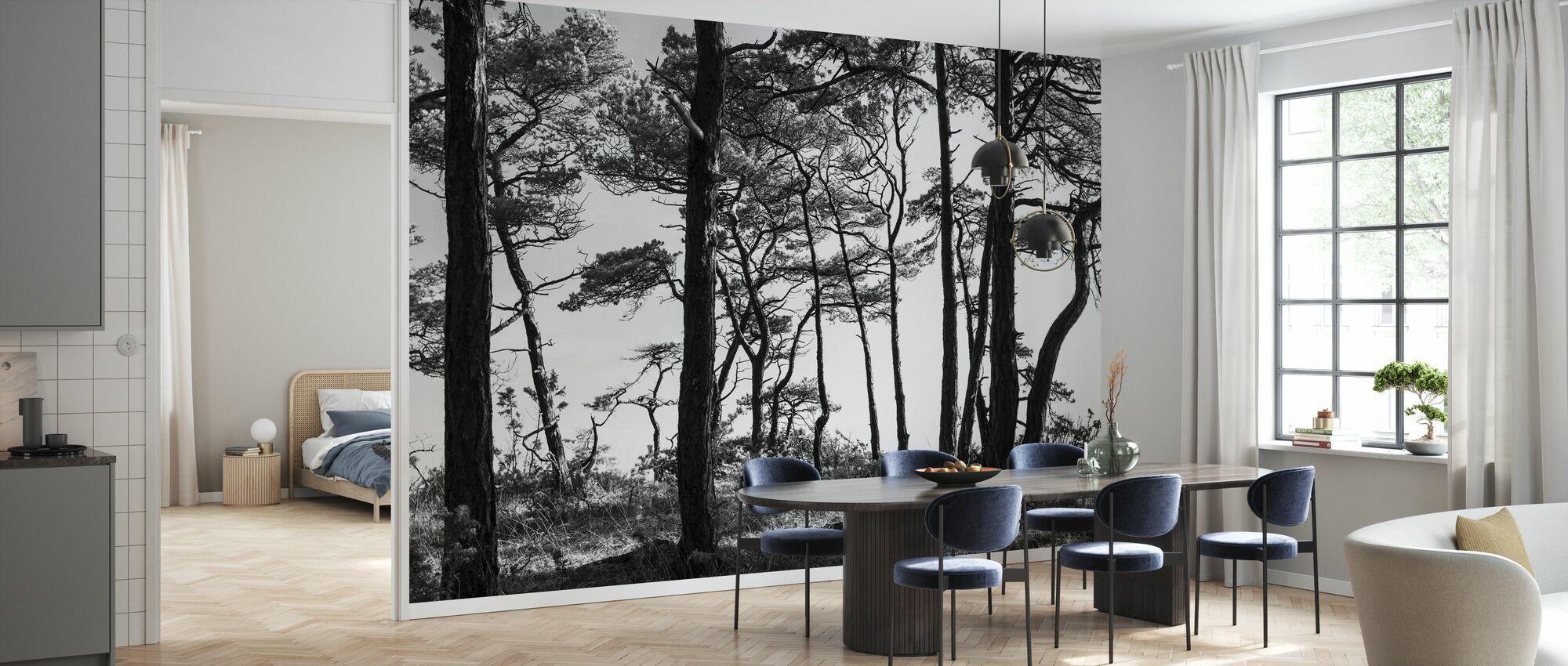 Zwarte dennenbos, zwart en wit - Behang - Keuken