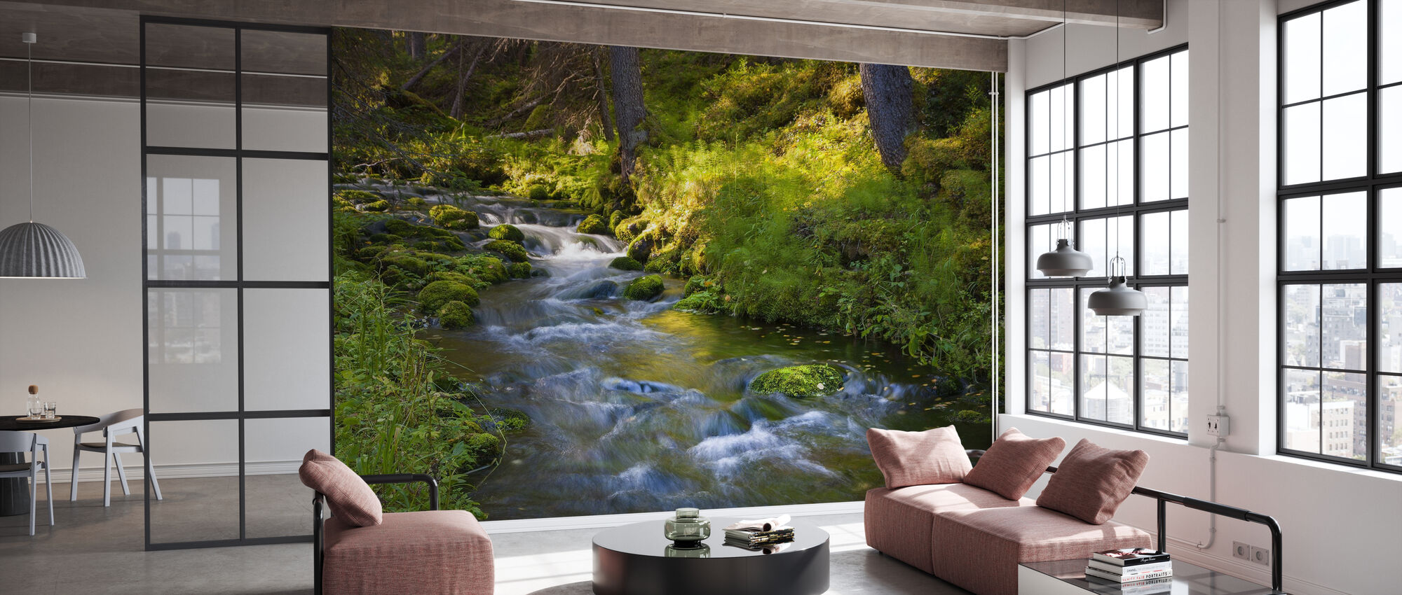 Finnish Forest River - Wallpaper - Office