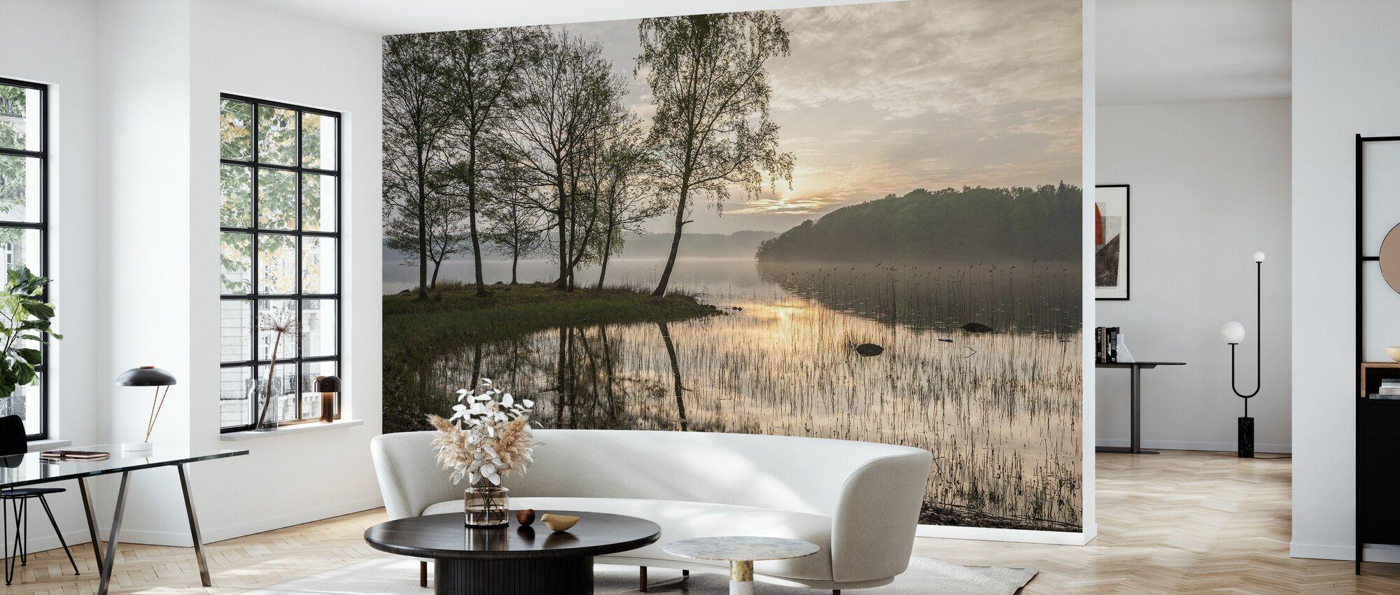 Solnedgång vid sjön - Tapet - Vardagsrum