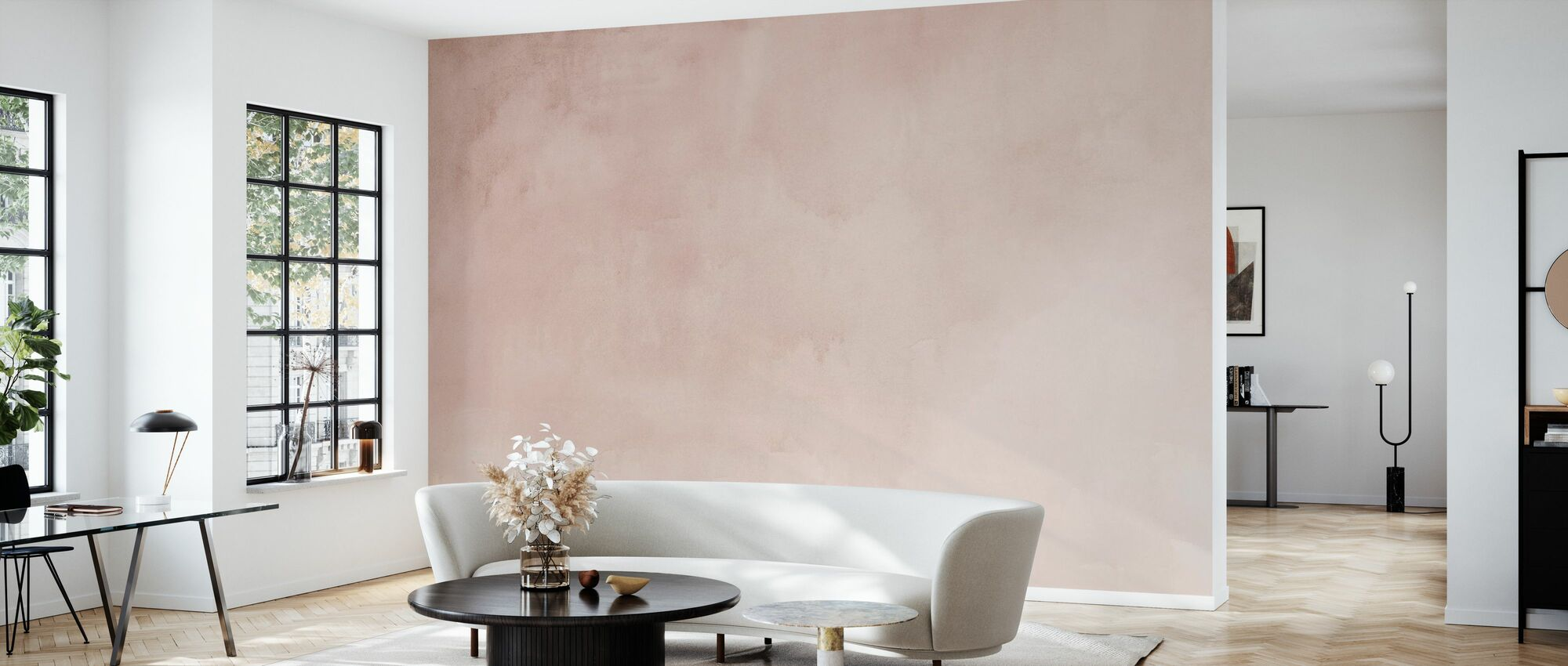 Watercolour Pastel Pink - Wallpaper - Living Room