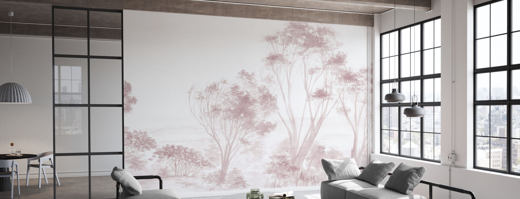 Árboles Rosa - Papel pintado - Oficina