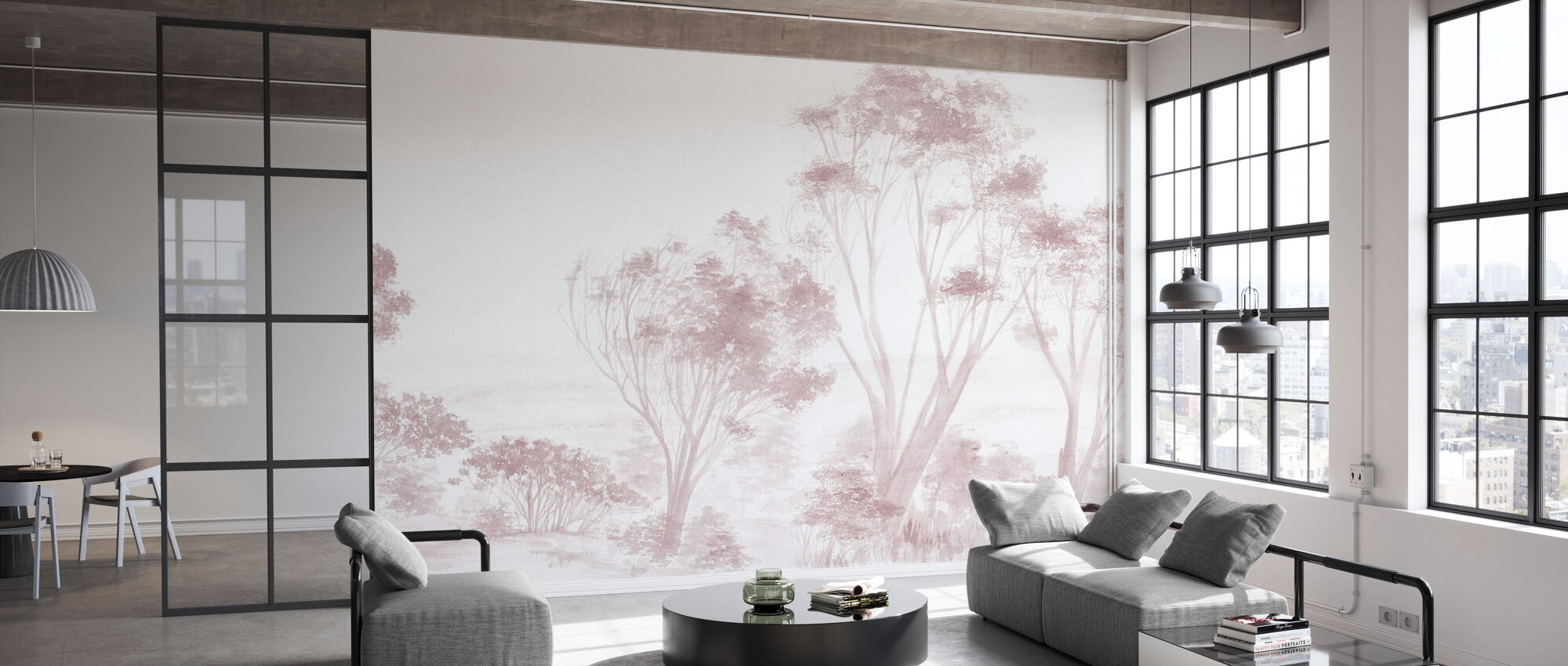 Trees Pink - Wallpaper - Office