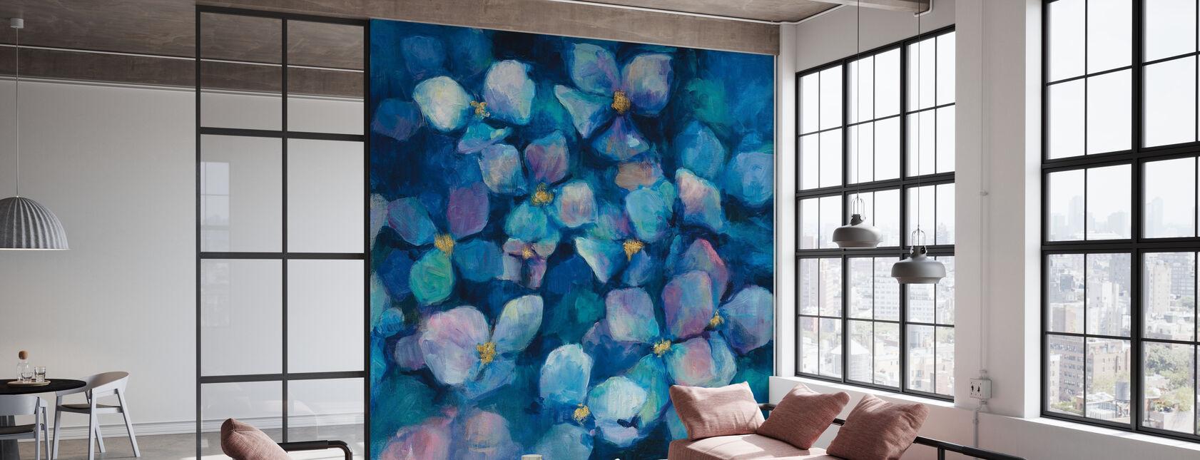 Midnight Blue Hydrangeas with Gold - Wallpaper - Office