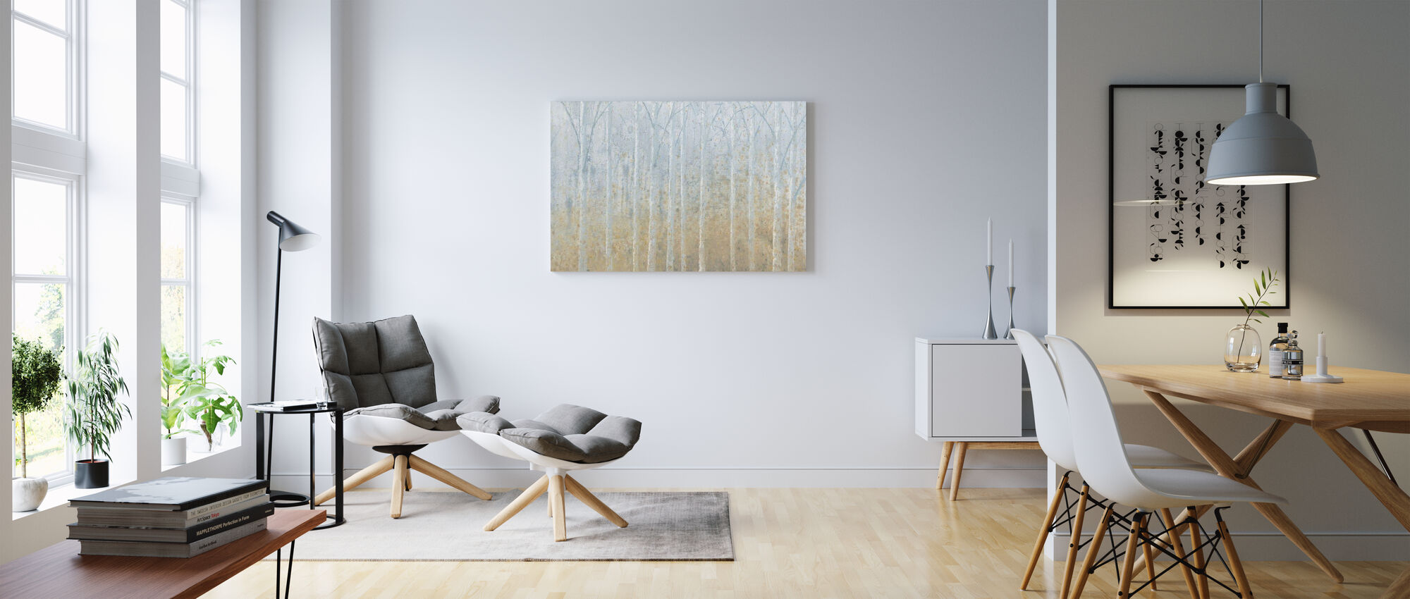 Silver Water Birches - Canvas print - Living Room