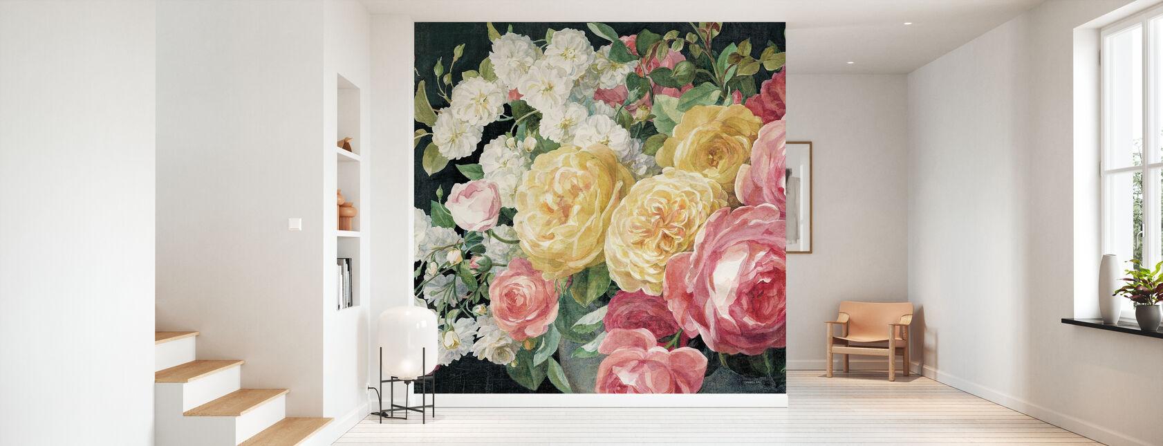 Antique Roses on Black - Wallpaper - Hallway