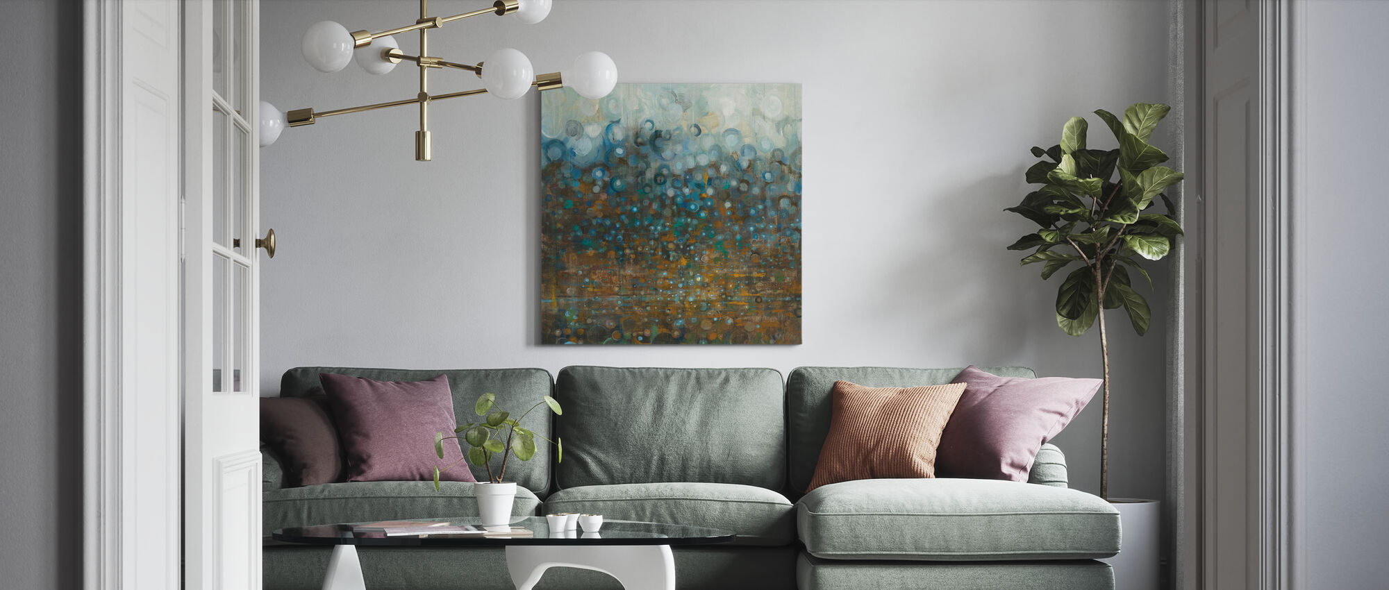 Blue and Bronze Dots - Canvas print - Living Room