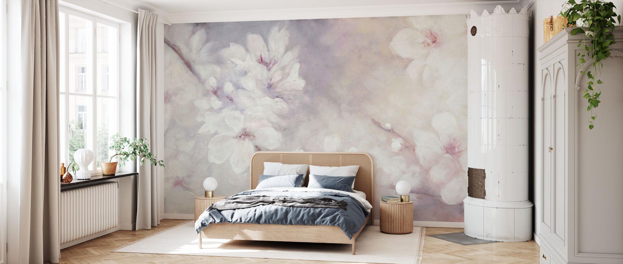 Kirsikankukkia maalaus - Tapetti - Makuuhuone