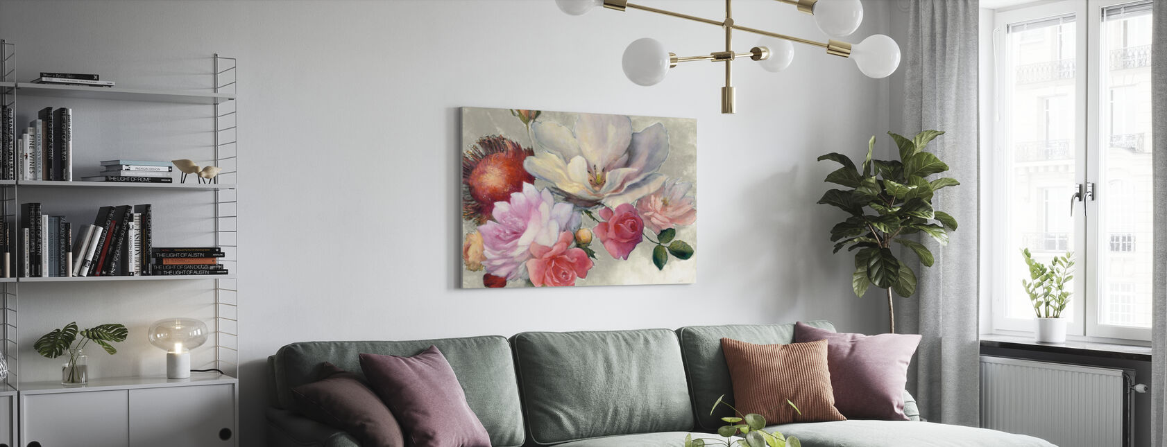 Flämische Fantasie auf Weiß - Leinwandbild - Wohnzimmer