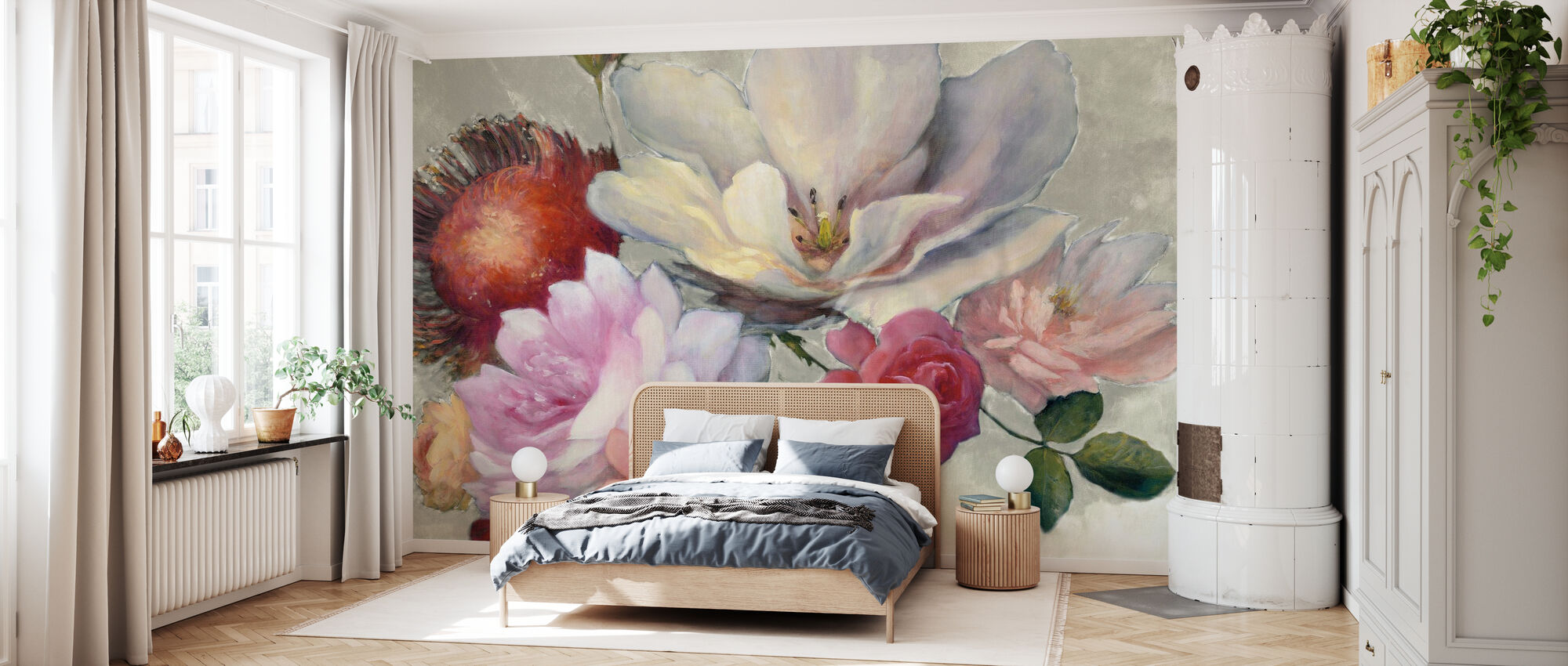 Flemish Fantasy on White - Wallpaper - Bedroom