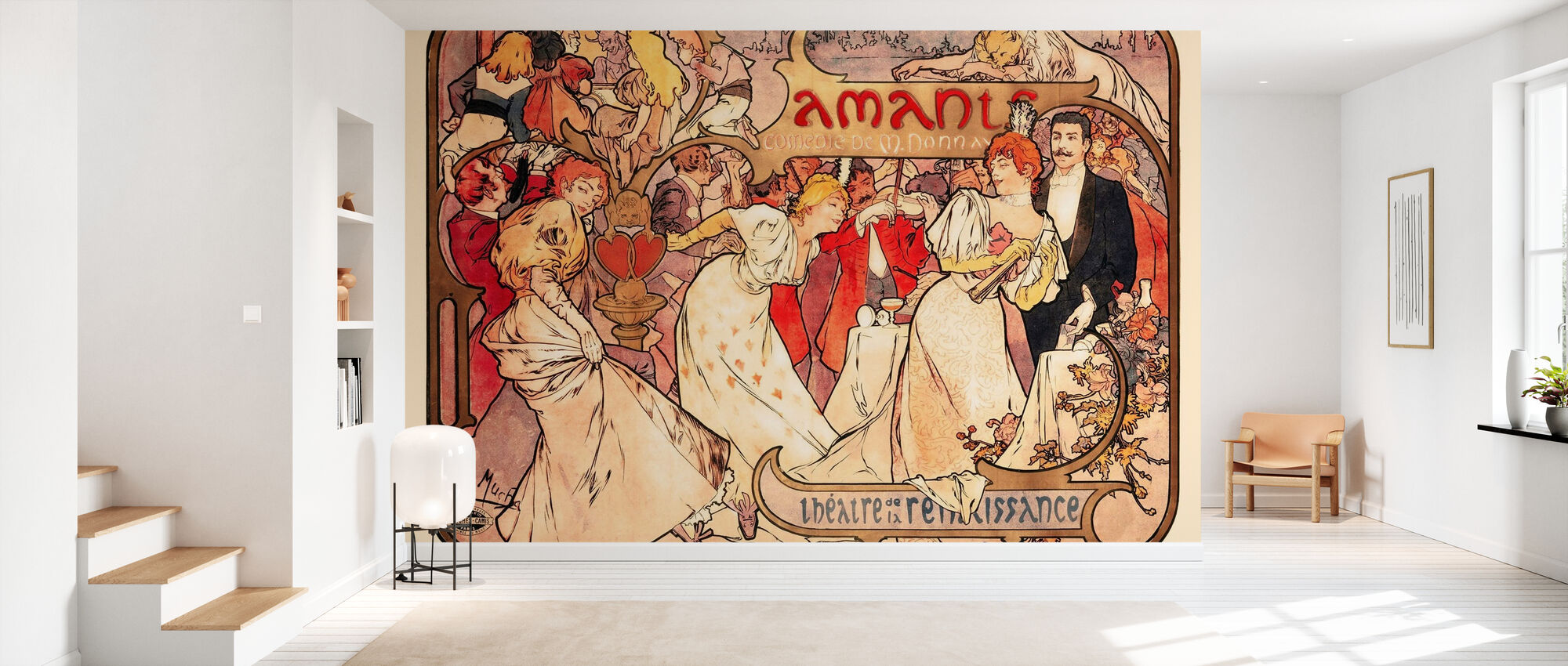 Alphonse Mucha - Amants Colour Litho - Wallpaper - Hallway