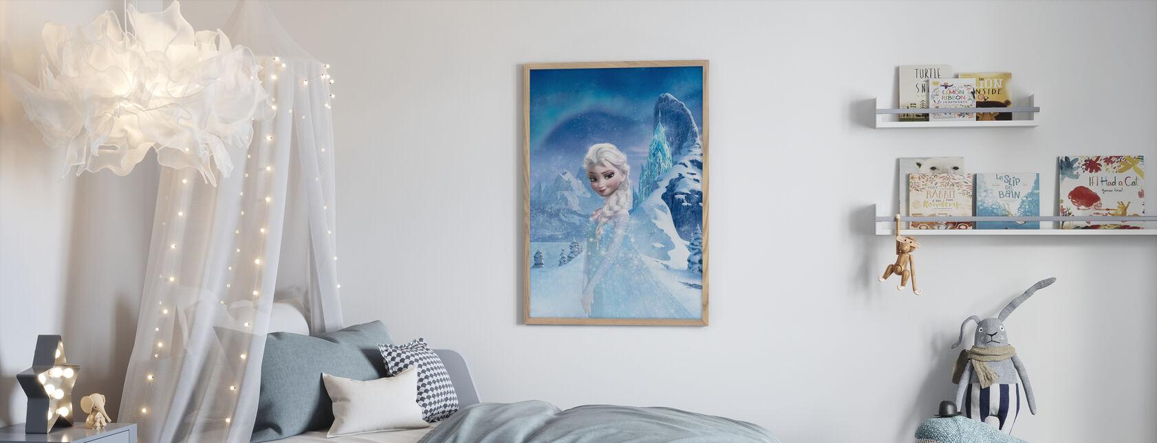 Jäätynyt - Hohtava Elsa - Kehystetty kuva - Lastenhuone
