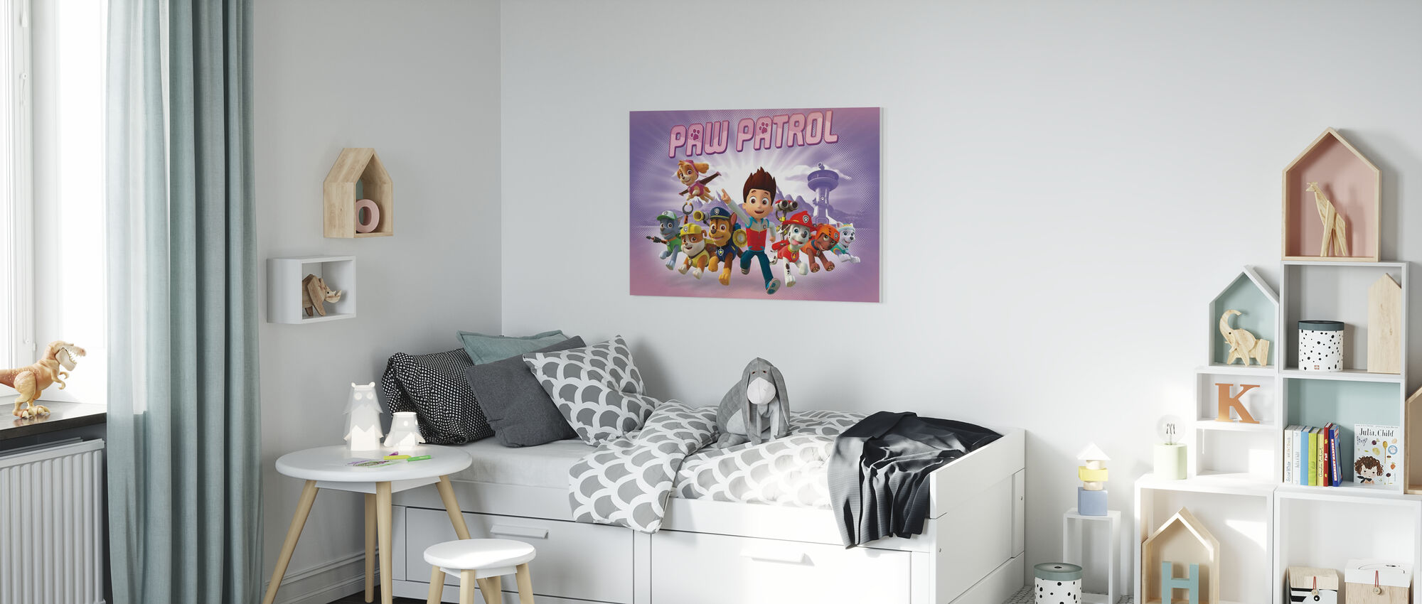 PAW Patrol - PAW Patrol is op rol - Paarse - Canvas print - Kinderkamer