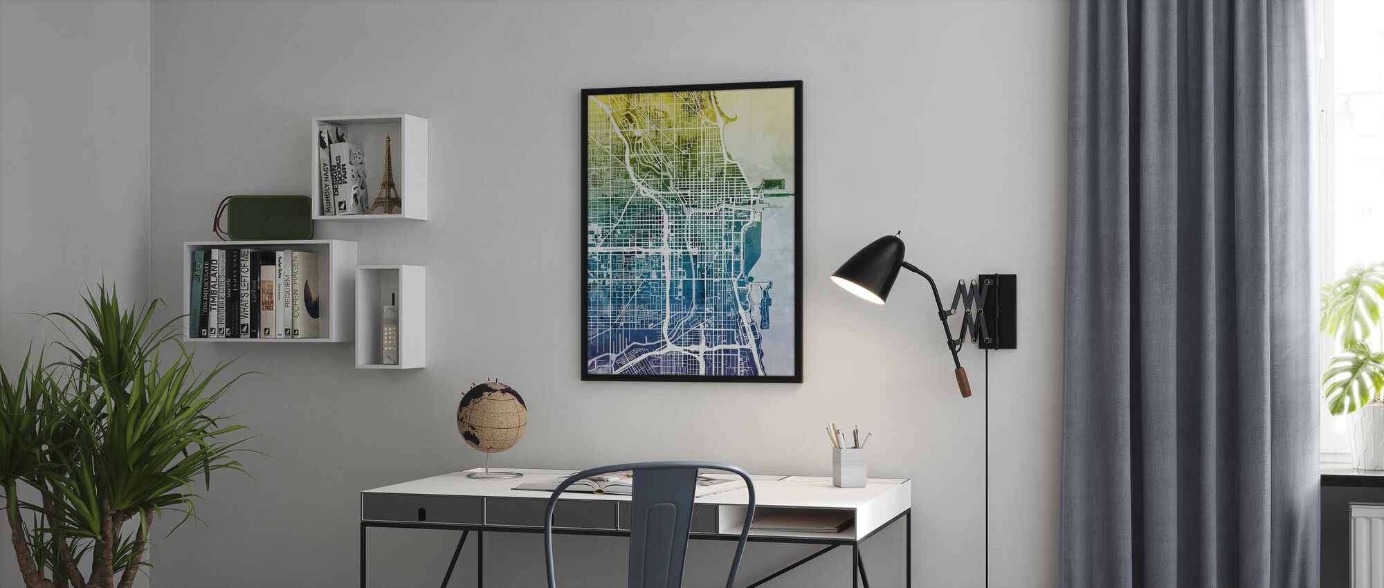 Chicago Street Map Bluegreen - Poster - Office