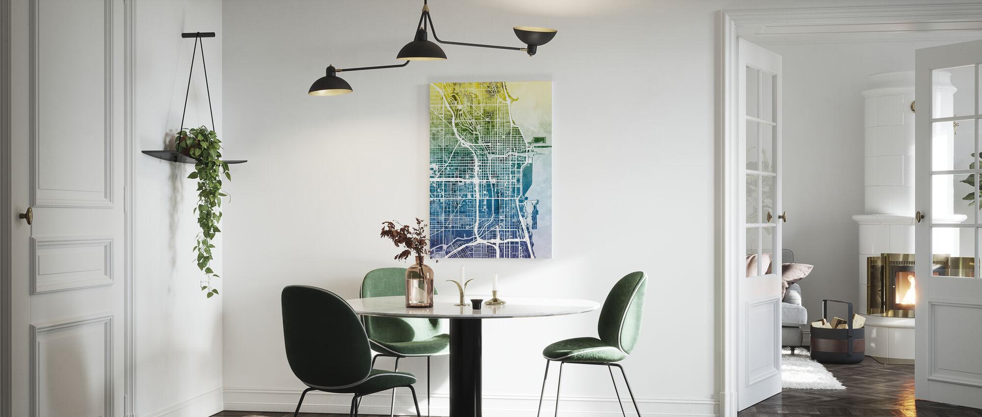 Chicago Street Map Bluegreen - Canvas print - Kitchen