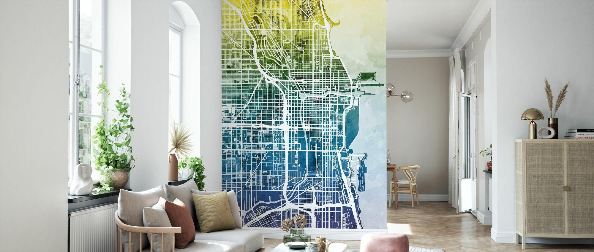 Chicago Street Kaart Bluegreen - Behang - Woonkamer