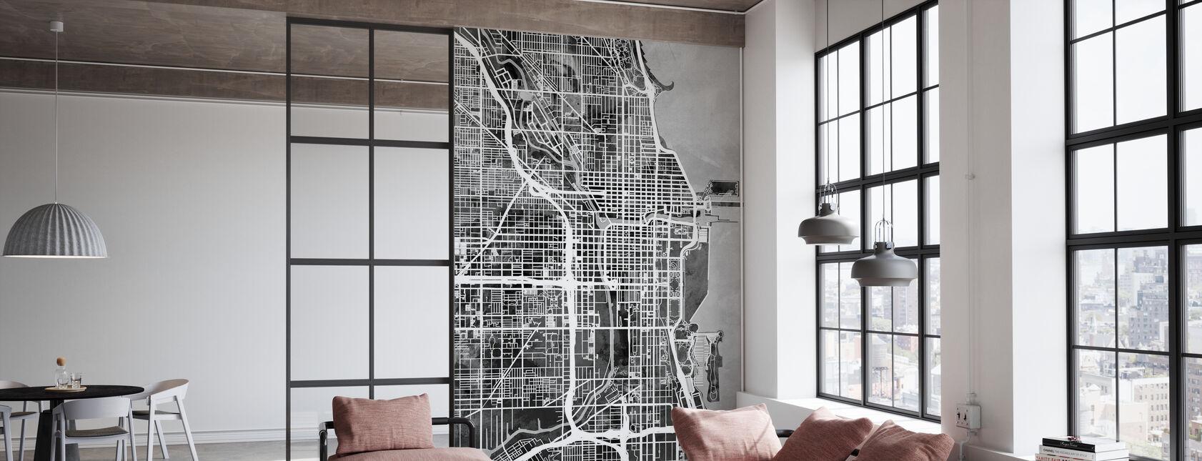 Chicago Street Map B/W - Wallpaper - Office