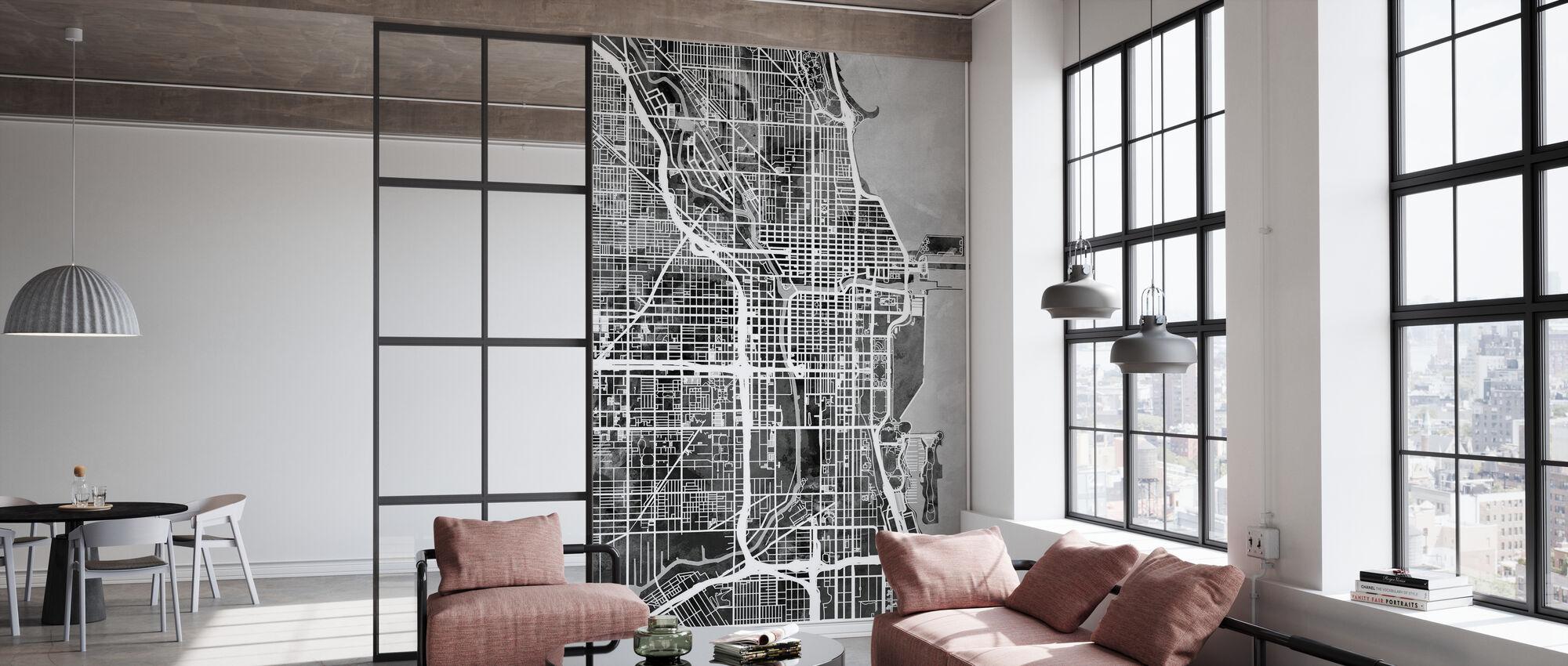 Chicago Street Kaart Z/W - Behang - Kantoor