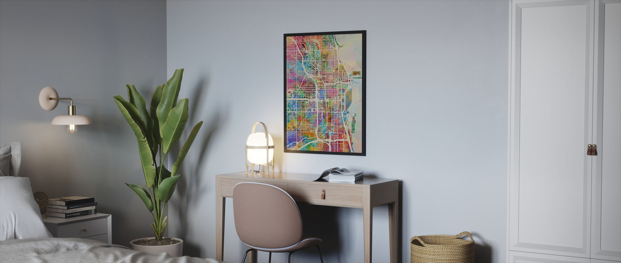 Chicago Street Map Multicolour - Poster - Bedroom